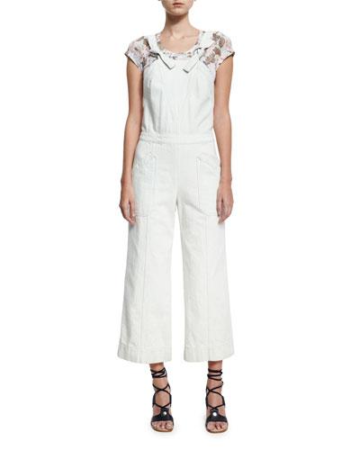 Cropped Wide-Leg Denim Jumpsuit, White