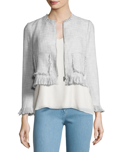 Fringe-Trim Suiting Jacket, Gray Multicolor