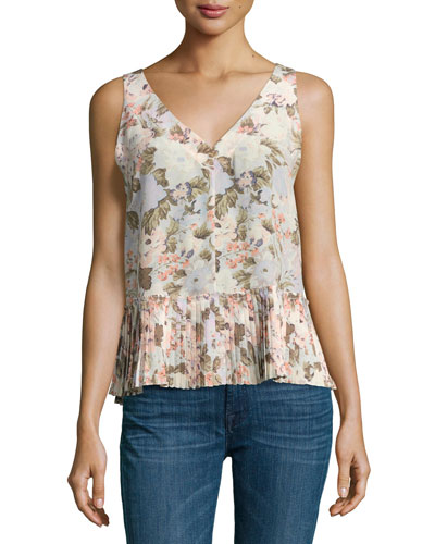 Penelope Sleeveless Floral Silk Top with Pleated Hem, Multicolor