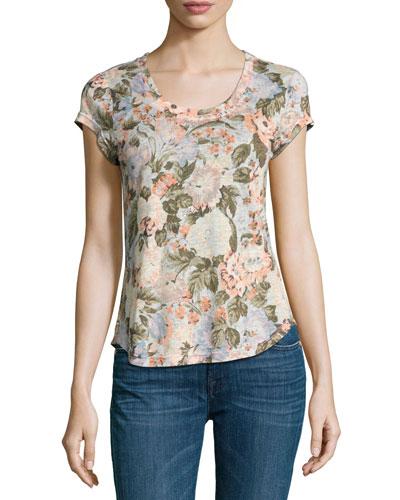 Penelope Floral-Print Jersey T-Shirt, Multicolor