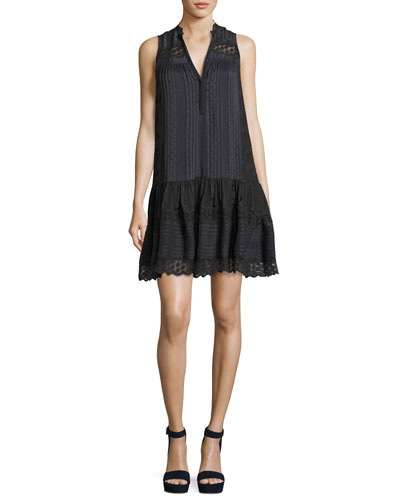 Sleeveless Silk Stripe Dress, Charcoal