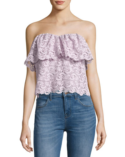 Strapless Floral Lace Top, Lavender