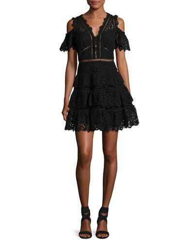 Cold-Shoulder Lace Dress, Black