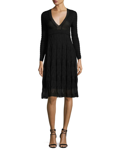 Long-Sleeve Textured Knit A-Line Dress