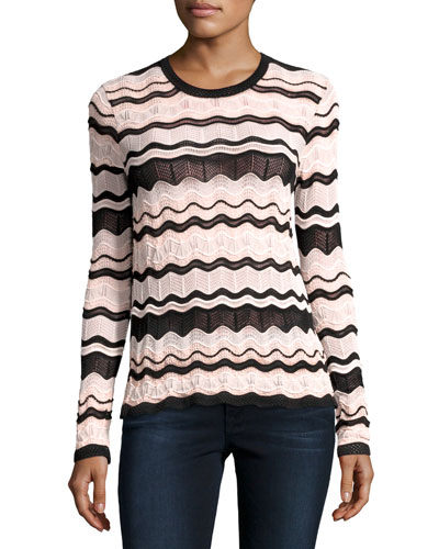 Long-Sleeve Rippled Ribbon Knit Top