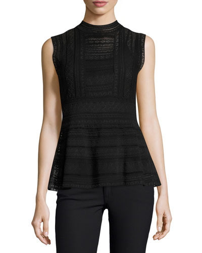 Sleeveless Mock-Neck Peplum Top