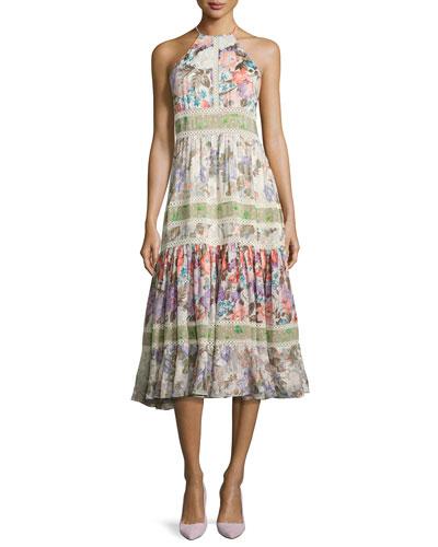 Mixed Floral High-Neck Sleeveless Midi Dress