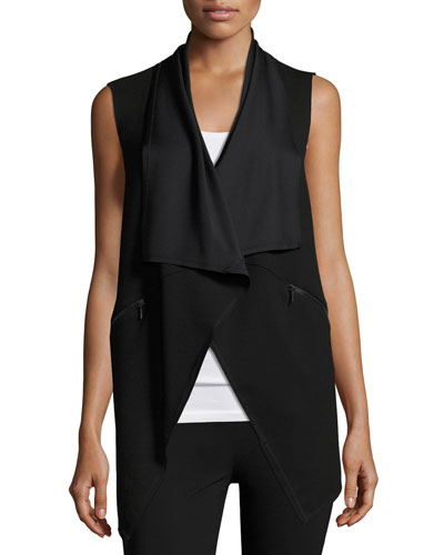 Taryn Draped Zip-Pocket Vest, Black