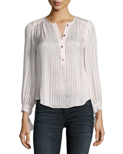 Long-Sleeve Striped Silk Top