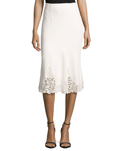 Textured Midi Skirt with Lace Hem, White