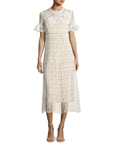 Short-Sleeve Lace Midi Dress, White