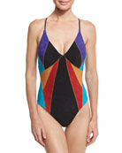 Serengeti Goddess Sueded One-Piece Swimsuit, Multicolor