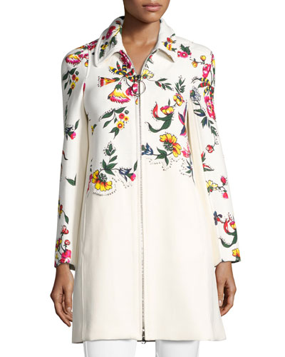 Studded Floral Appliqué Coat, Multi