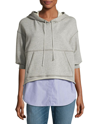 French Terry & Striped Poplin Hooded Sweatshirt, Gray
