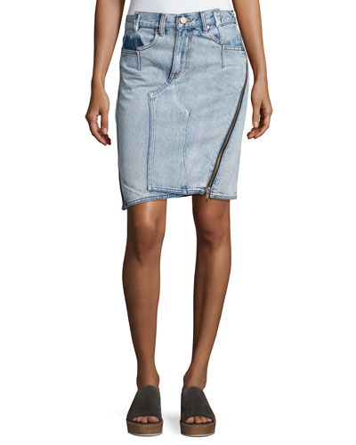 Asymmetrical Denim Pencil Skirt W/ Zipper, Indigo