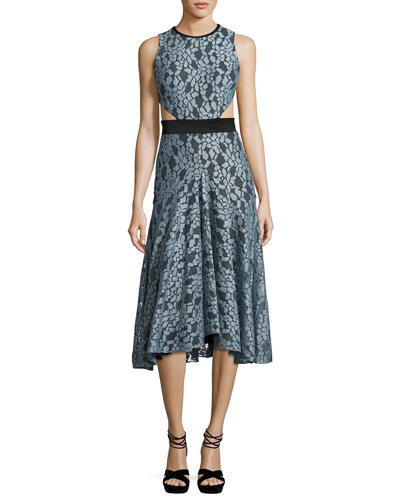 Maile Lace Cutout Sleeveless Midi Dress, Blue/Black