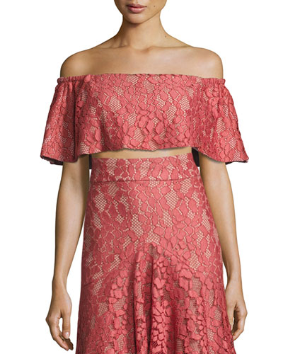 Taza Off-the-Shoulder Lace Crop Top, Pink