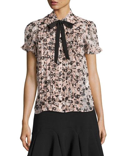 pleated silk chiffon posy grove blouse, neutral