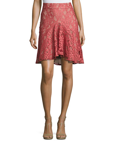 Braxten Lace Flared Godet Skirt