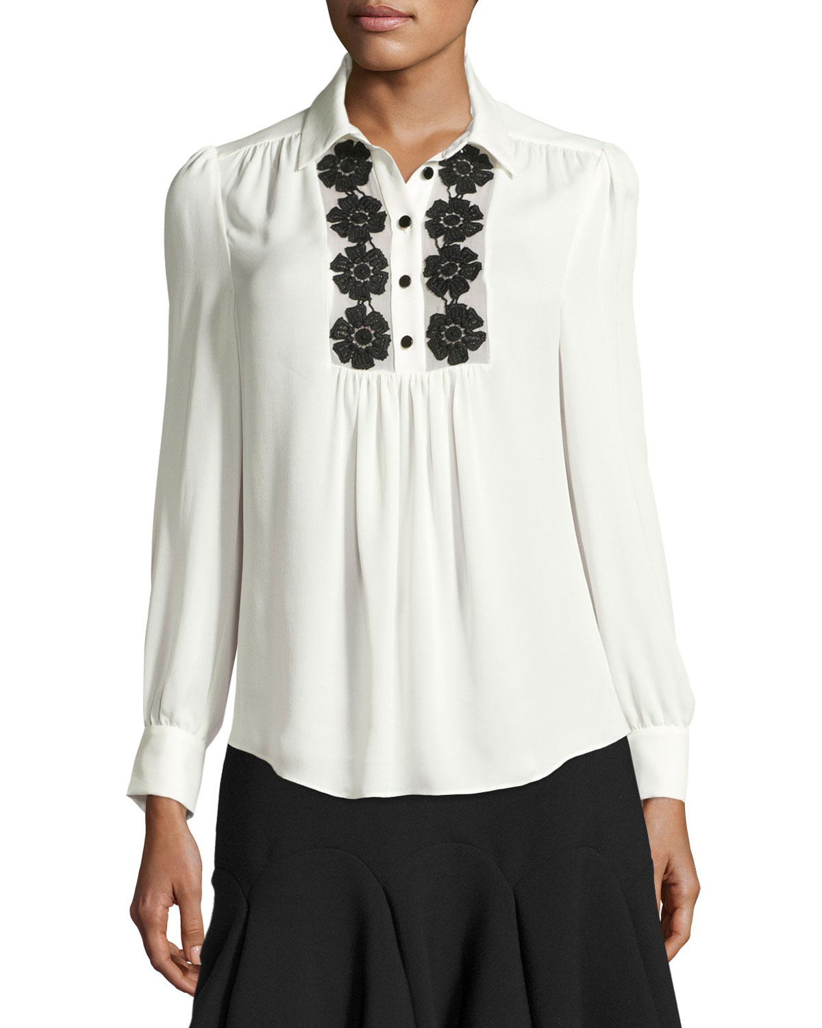 silk daisy lace henley blouse, french cream