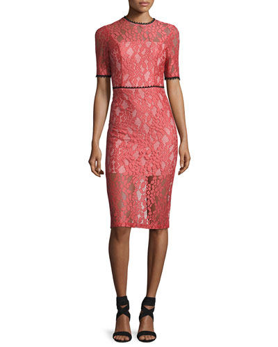 Remi Short-Sleeve Lace Sheath Dress, Pink