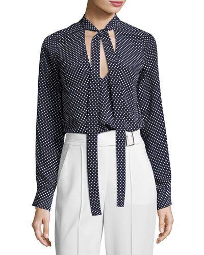 Priya Polka-Dot Tie-Neck Blouse