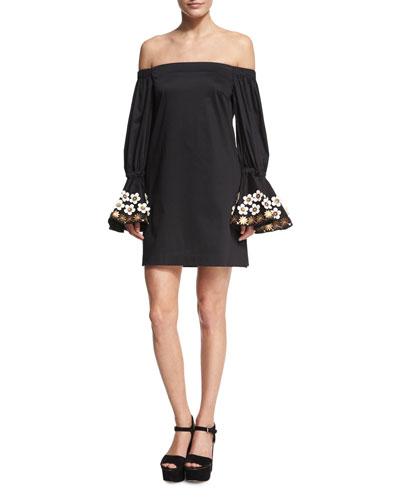 Leandra Off-the-Shoulder Mini Dress, Black