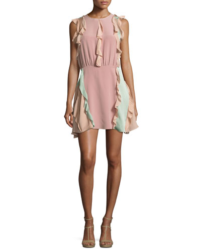 Keely Colorblock Ruffle Mini Dress, Pink