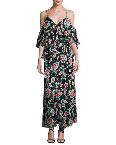Lorena Mosaic Floral Striped Silk Maxi Dress, Black