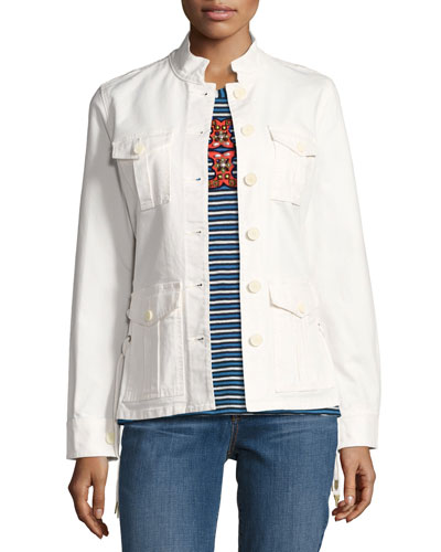 Button-Front Army Jacket w/ Lace-Up Sides, White