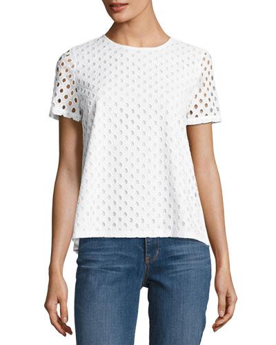 Hermosa Cotton Eyelet T-Shirt, White