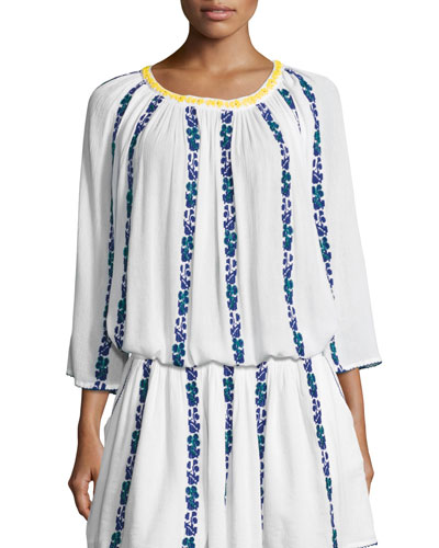 Alexandria 3/4-Sleeve Embroidered Voile Top, White