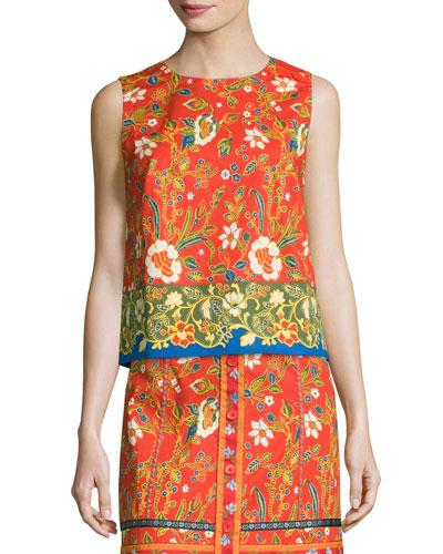 Dayton Sleeveless Floral-Print Crop Top