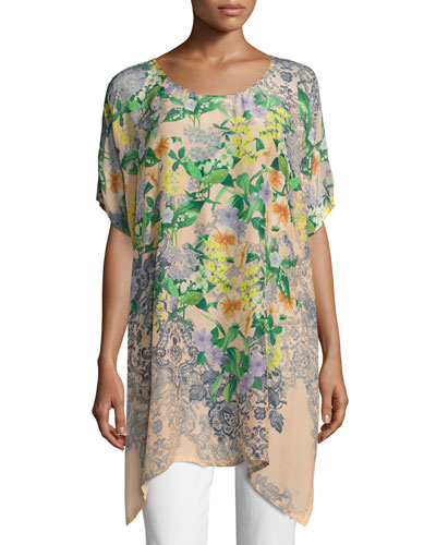 Kiltic Floral-Print Tunic, Yellow Pattern