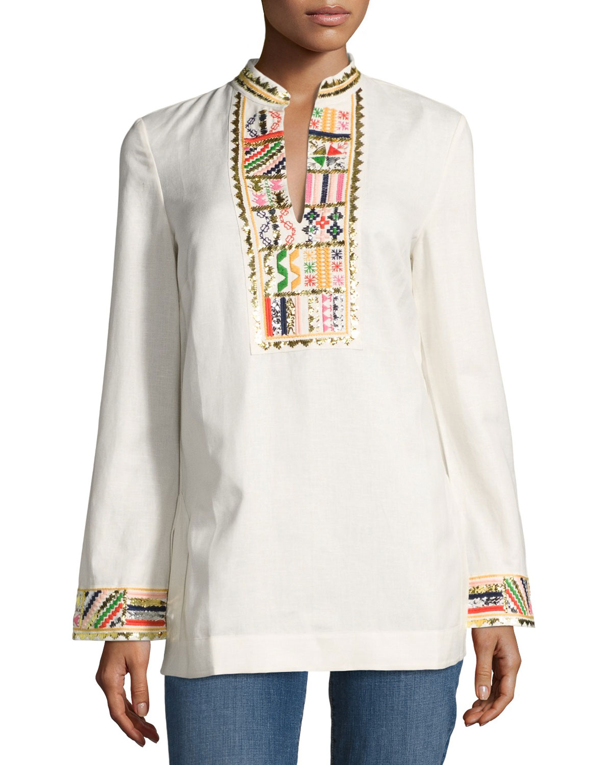 Long-Sleeve Embellished Tory Tunic, Ivory