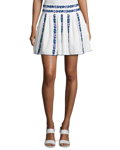 Alexandria Embroidered Voile Miniskirt, White