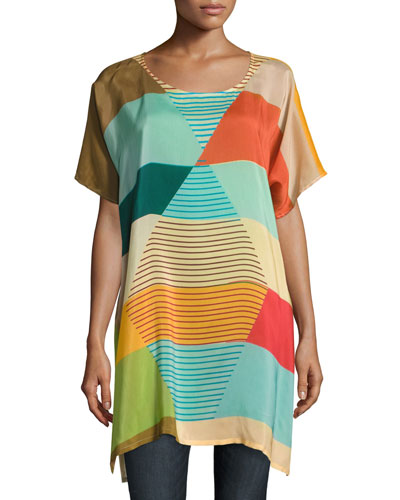 Kiltic Printed High-Slit Tunic, Multicolor, Plus Size