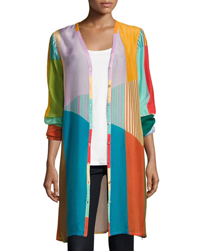 Busch Button-Front Colorblocked Cardigan, Multi