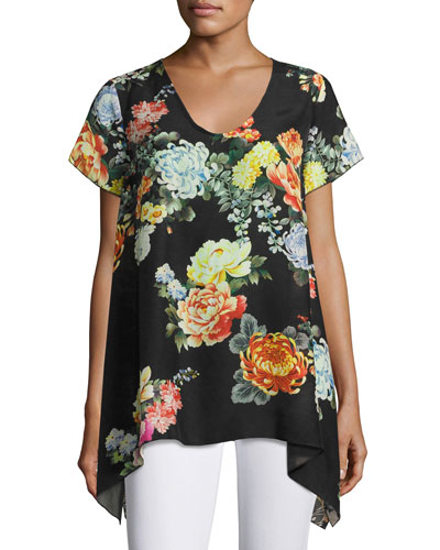 Ziara Printed Handkerchief-Hem Tunic, Black, Plus Size