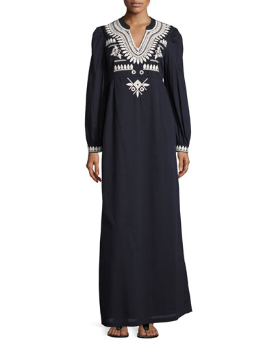 Keegan Embroidered Cotton Voile Caftan Dress, Navy Sea