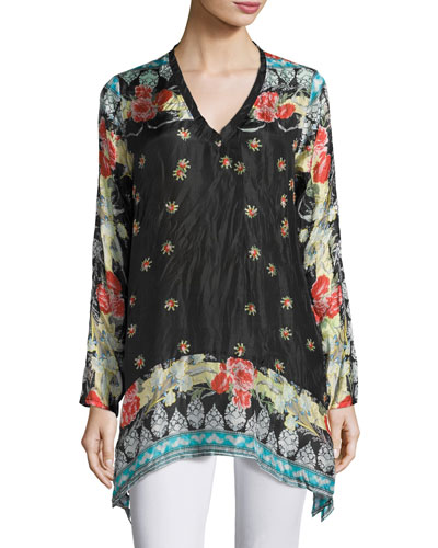 Fiesta V-Neck Long-Sleeve Printed Tunic