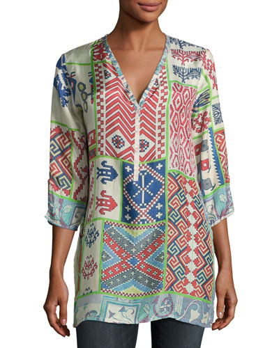 Jordyn V-Neck Printed Blouse, Plus Size