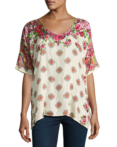 Rose Lace Silk Top, Plus Size