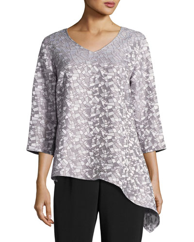 Mosaic Moonbeam Asymmetric Tunic, Plus Size