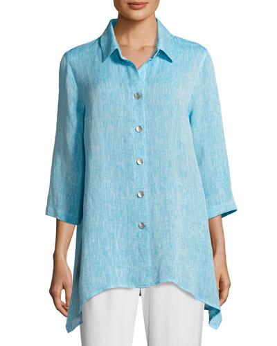 Chambray Linen Side-Fall Shirt, Plus Size