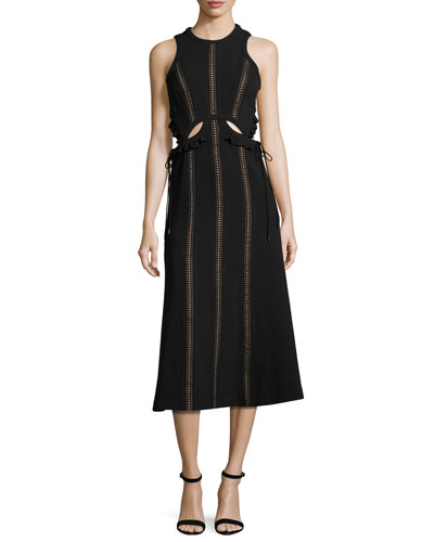Sleeveless Cutout Midi Dress, Black