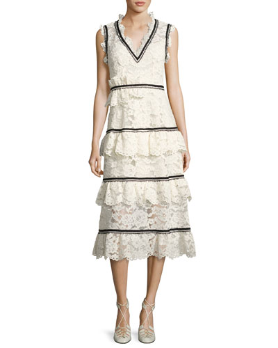 Tiered Lace Sleeveless Midi Dress, White/Black
