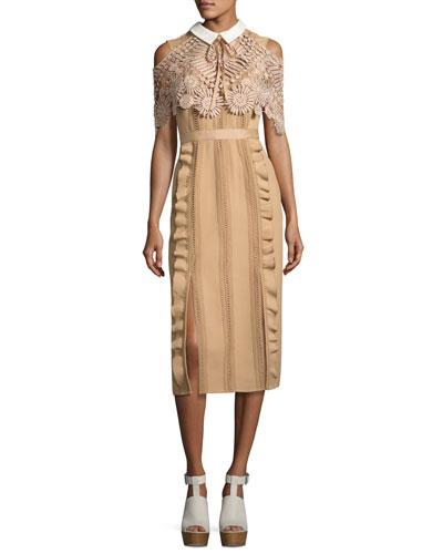 Hinkley Lace Cape Midi Dress, Nude