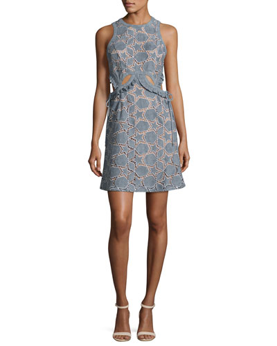 Cutwork Star SUEDE? Mini Dress, Blue