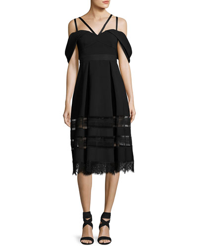 Cold-Shoulder Strappy Midi Dress, Black